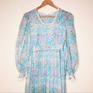 1970s Vintage Prairie Dress Maxi Puff Sleeves S